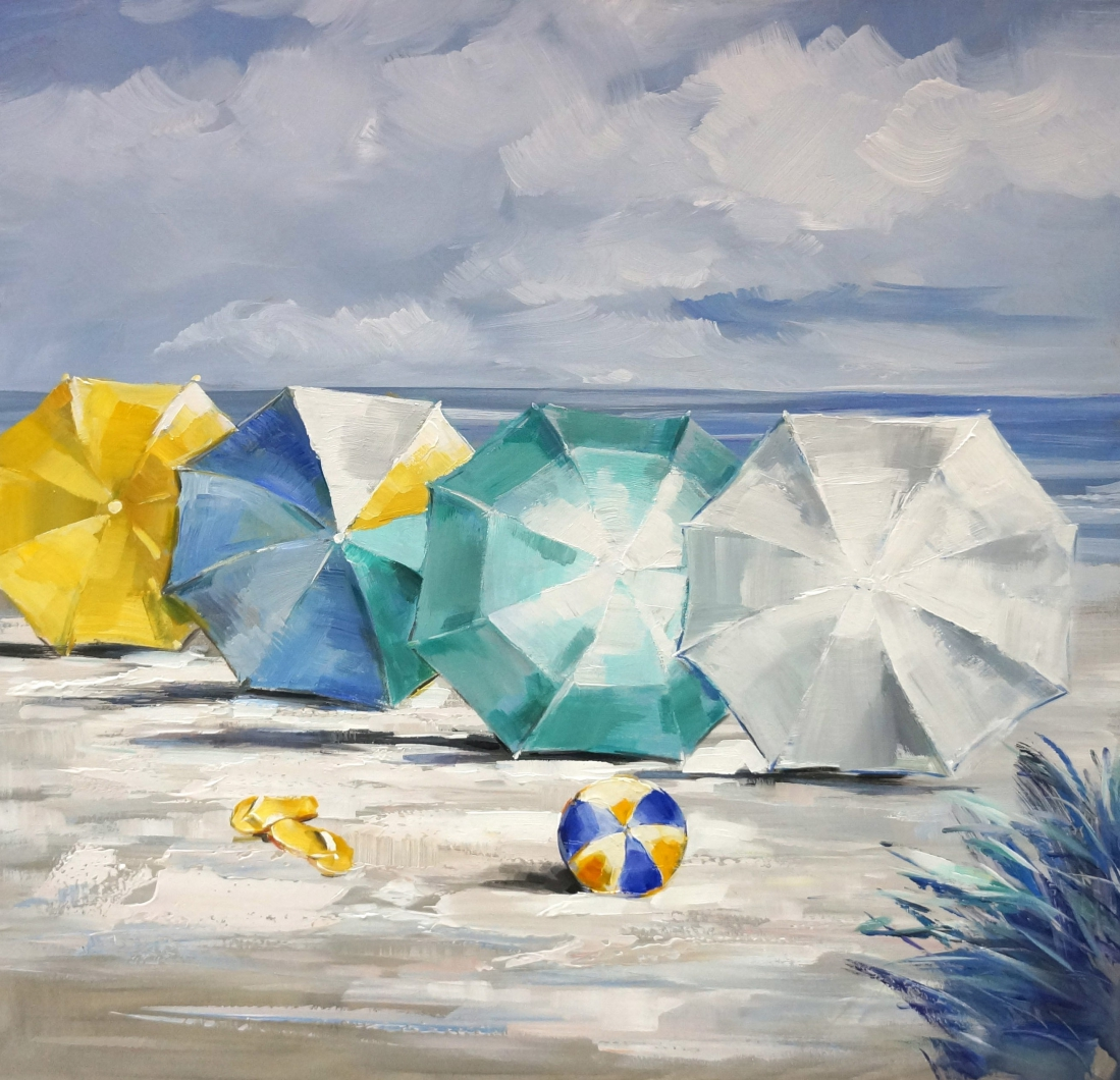 schilderij strand parasol 80x80