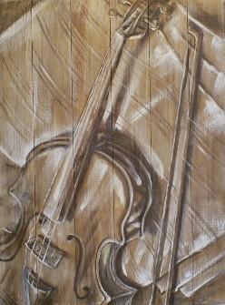 Schilderij viool op steigerhout 60x80