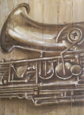 Schilderij saxofoon op steigerhout  60x80