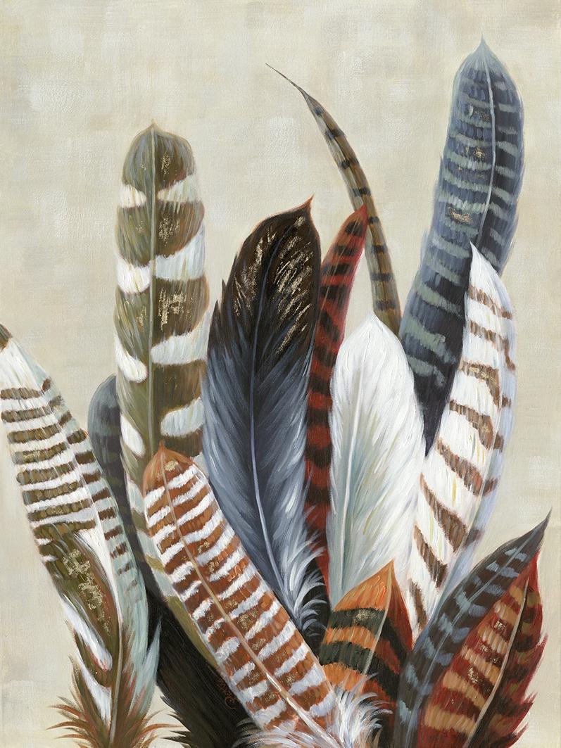 Schilderij veren bohemian 90x120