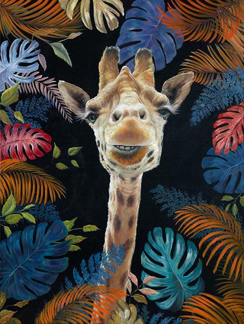 Schilderij giraffe 90x120