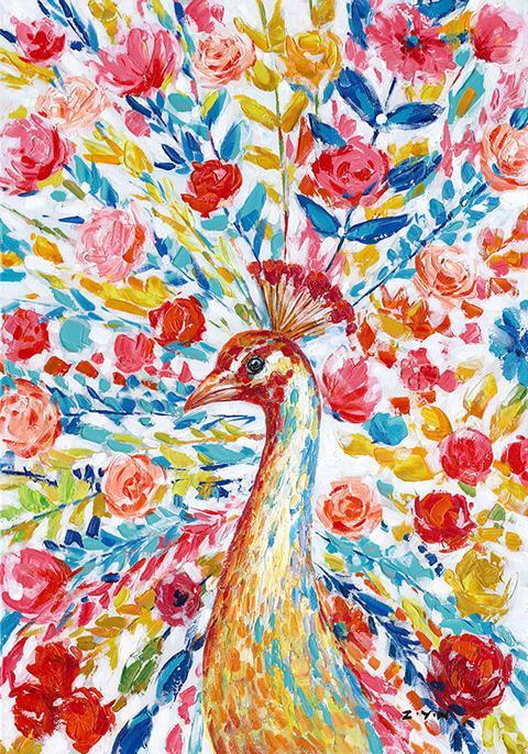 Schilderij pauw 70x100