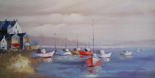 schilderij haven 70x140