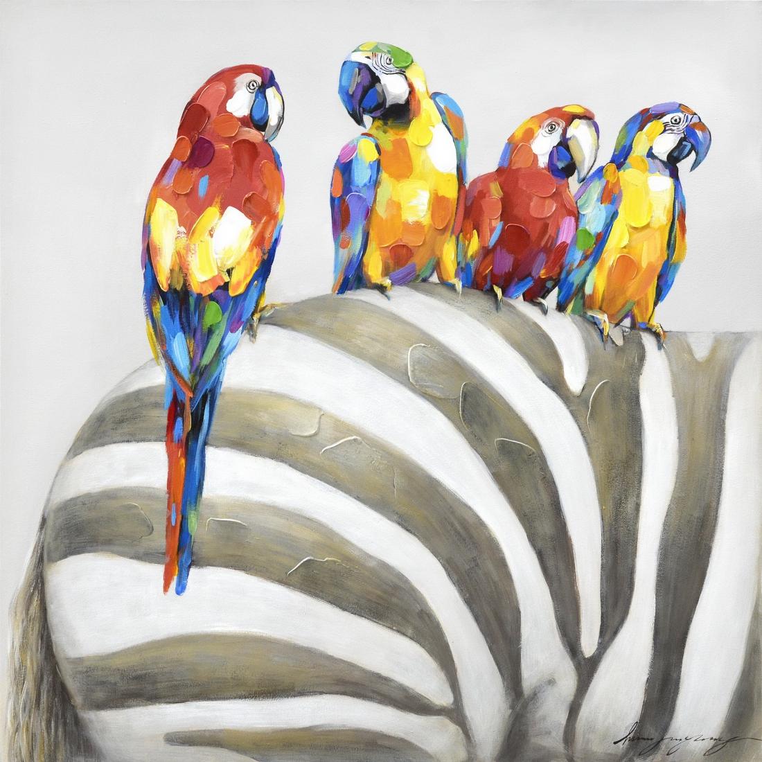 schilderij zebra met papegaaien 80x80