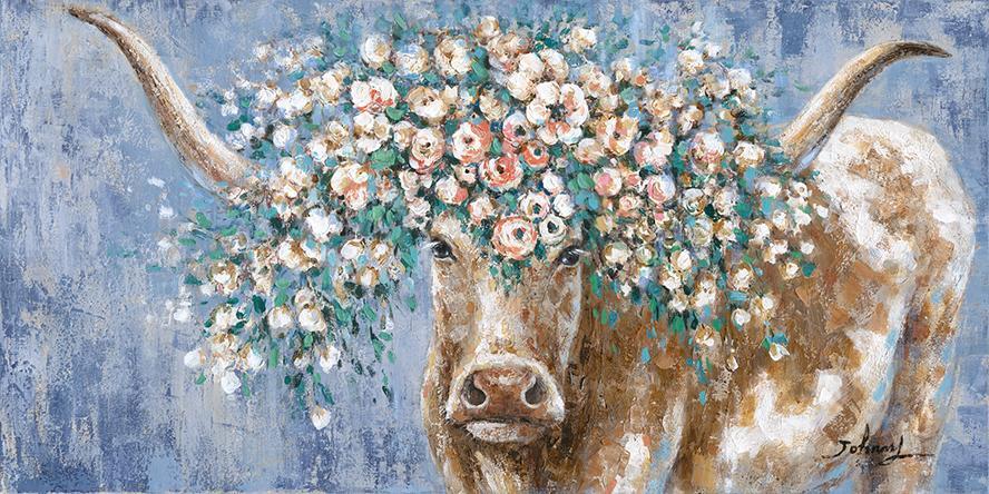Schilderij stier met bloemen 70x140