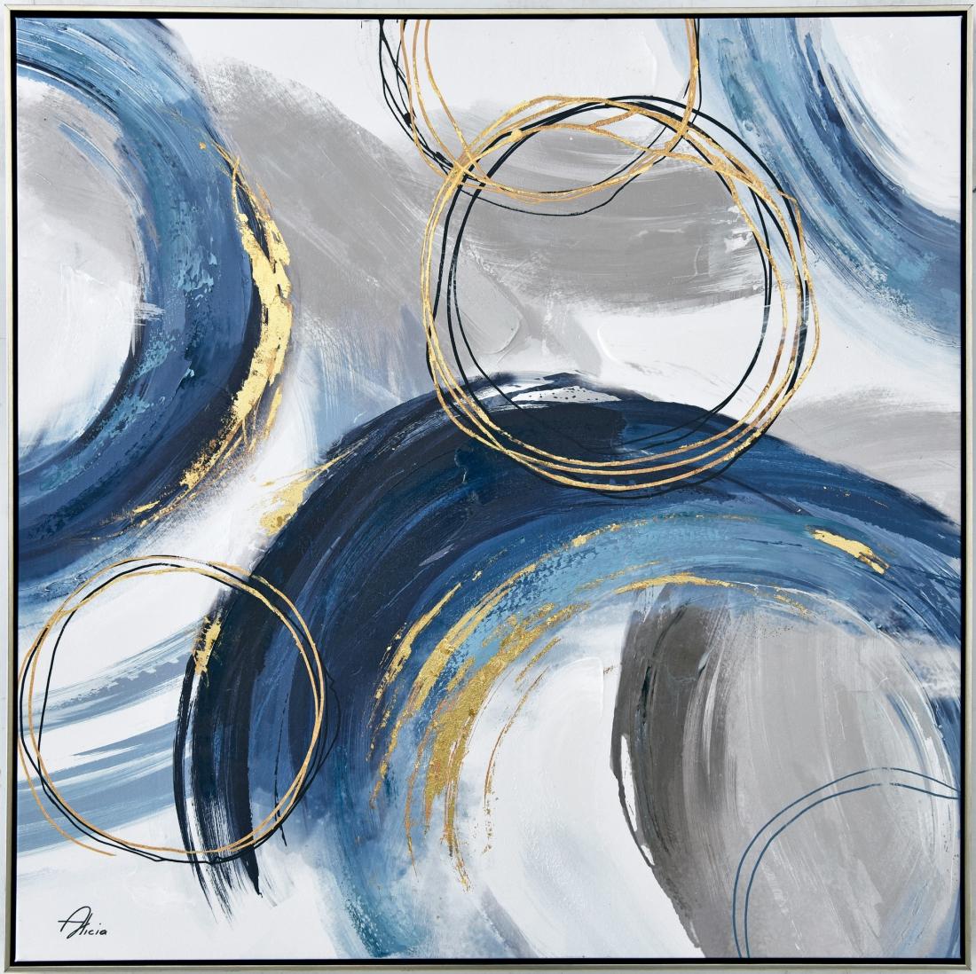 Schilderij abstracte vegen 82x82