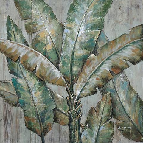 schilderij Bananenbladeren 100x100
