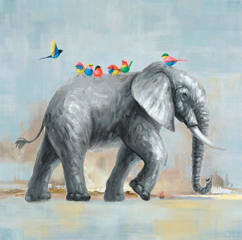 Schilderij olifant met vogeltjes100x100