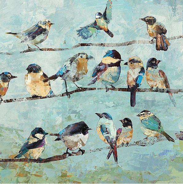 schilderij vogeltjes 60x60