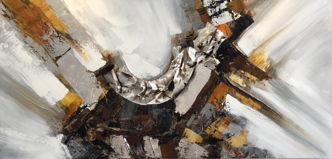 schilderij modern oker 70x140