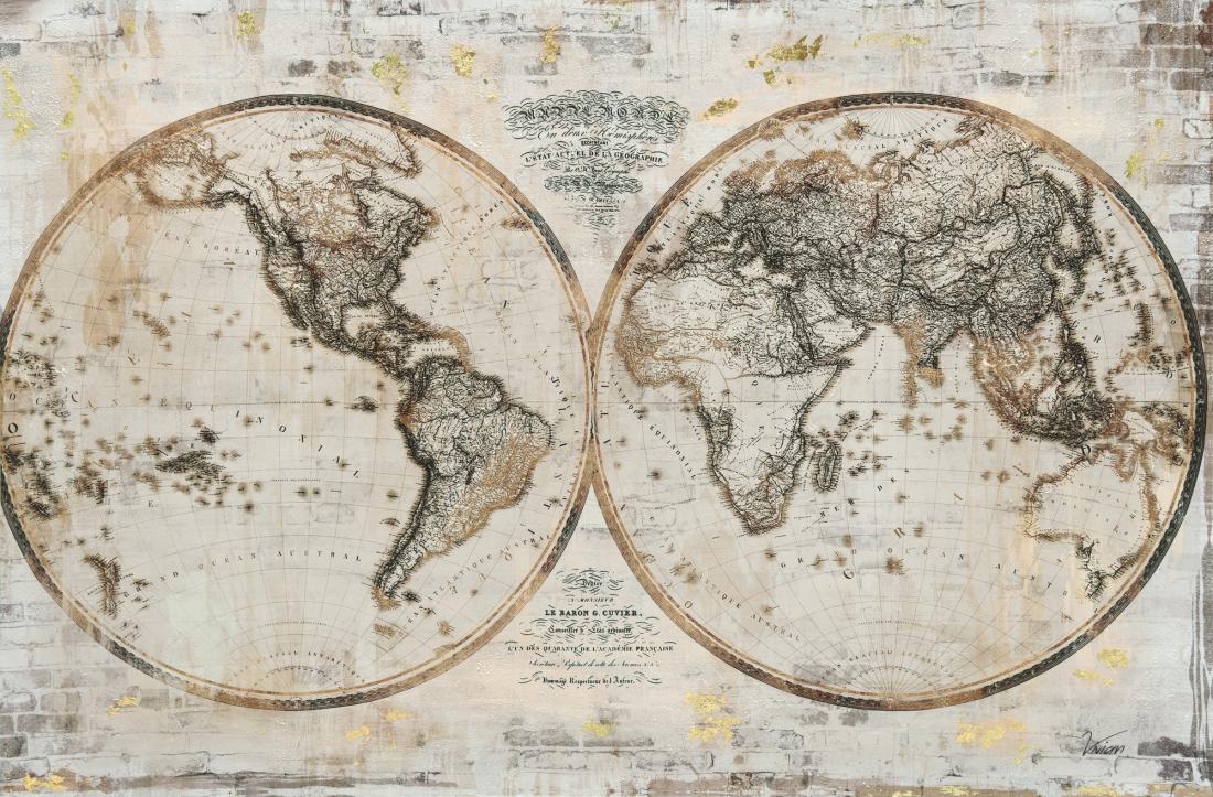 Schilderij wereldkaart 80x120