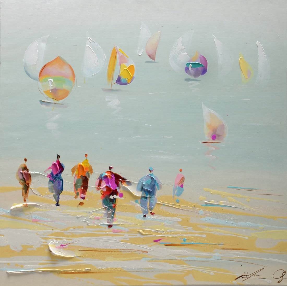 Schilderij strand leven 80x80
