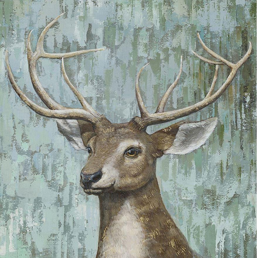 schilderij hert 90x90