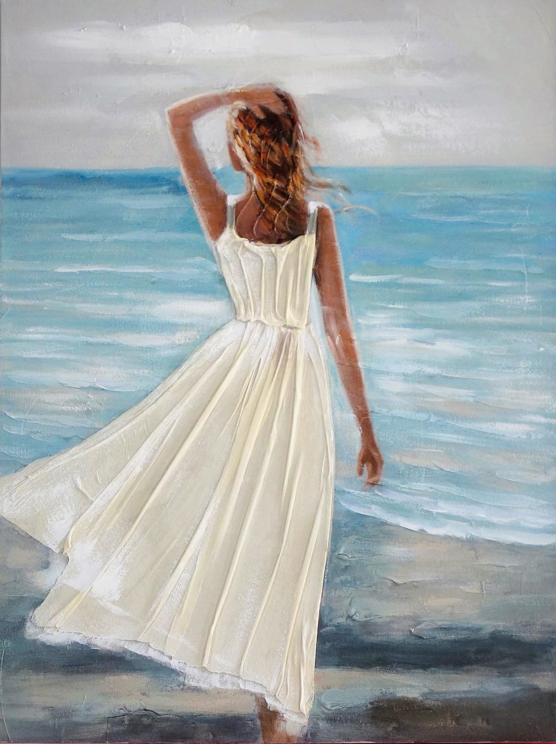 Schilderij vrouw aan strand 90x120