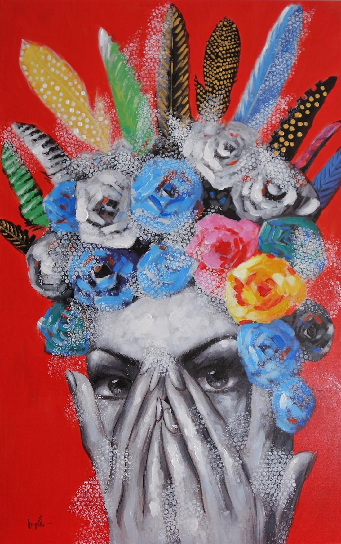 Schilderij vrouw met veren 90x140