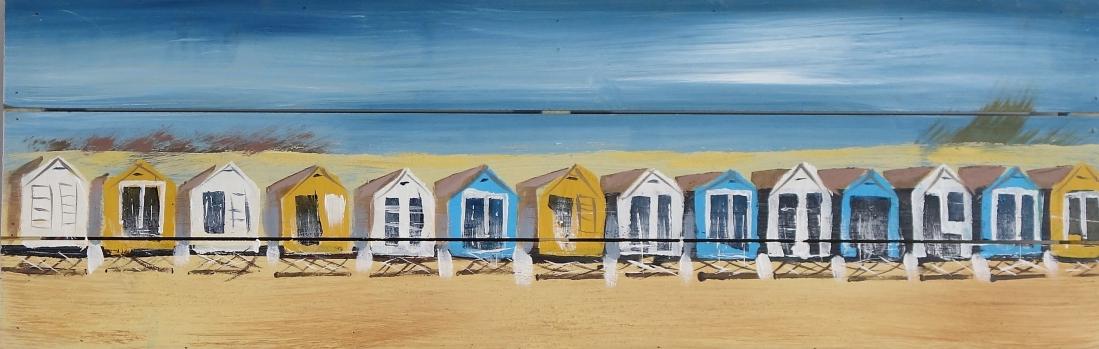 Schilderij strand huisjes op hout 30x90
