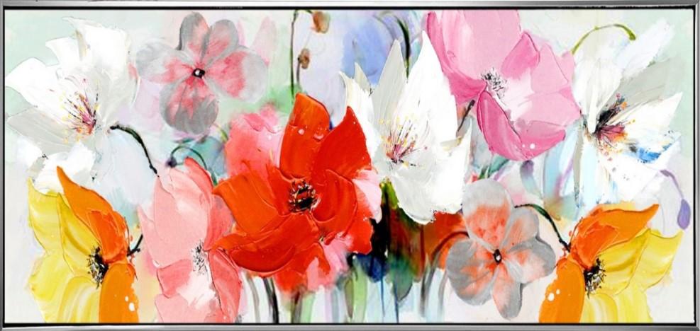 Schilderij bloemen 52x102