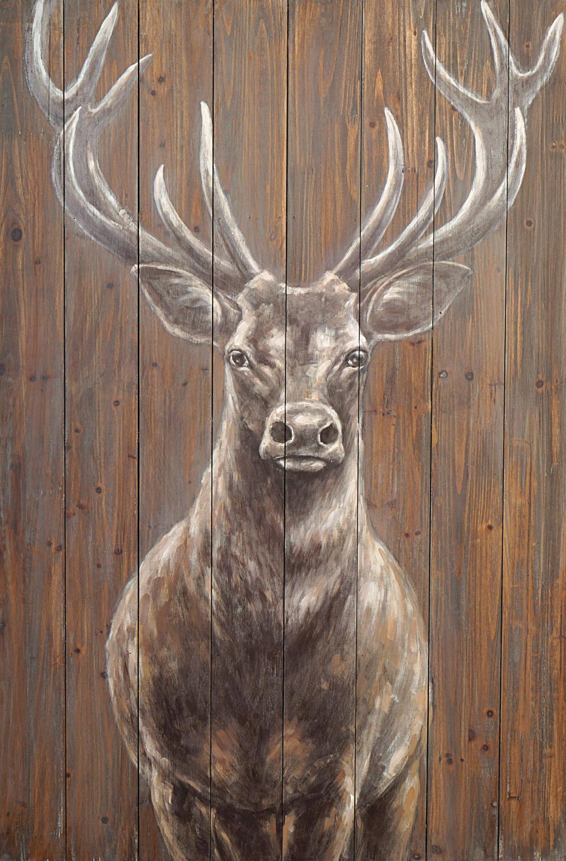 schilderij hert op steigerhout 80x120