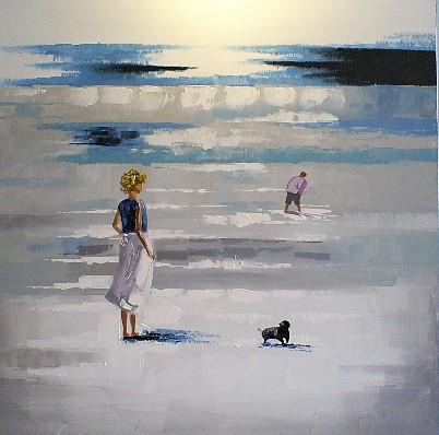 schilderij strand 100x100