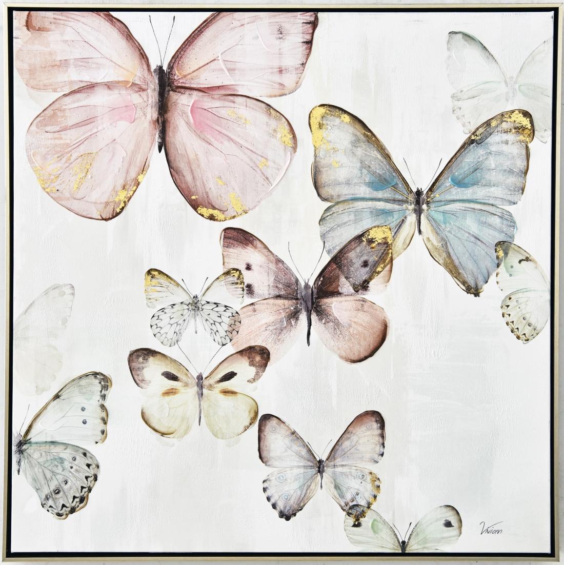 Schilderij vlinders 82x82