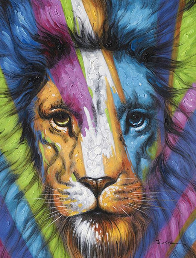 schilderij leeuw 90x120