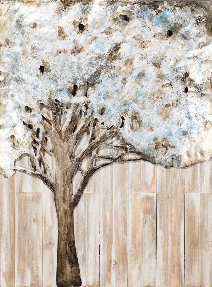 Schilderij metalen boom op hout 60x80