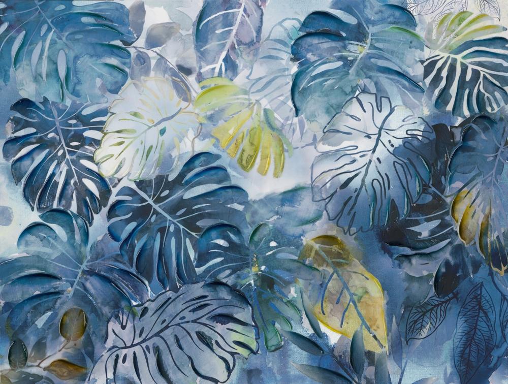 Schilderij moderne bladeren 90x120