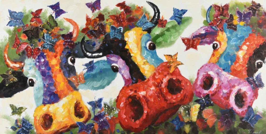 Schilderij koeien 60x120
