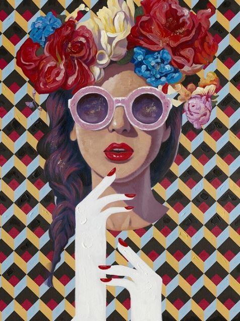 schilderij vrouw figuratief  90x120