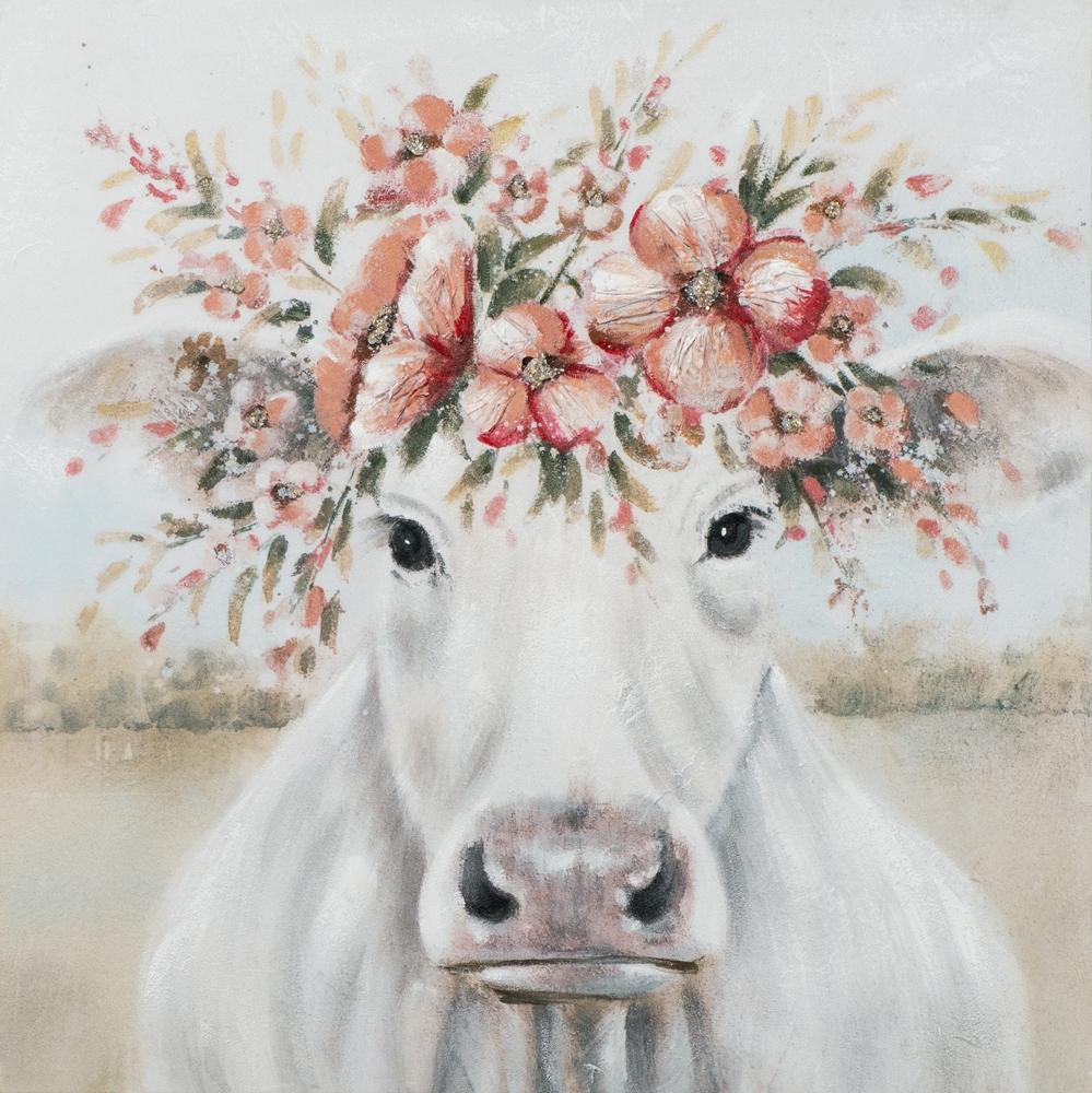 Schilderij koe met bloemen 80x80