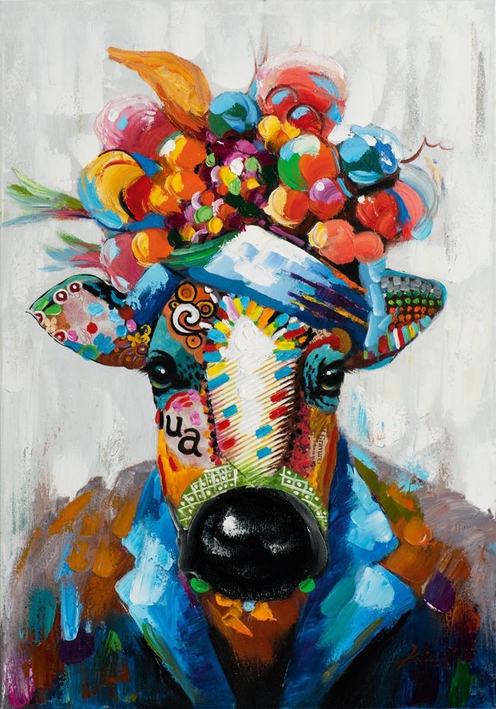 Schilderij koe 70x100