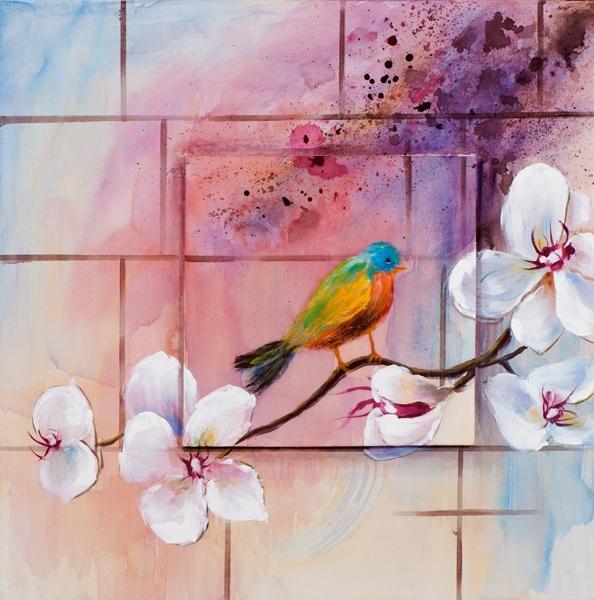 Schilderij vogel 60x60