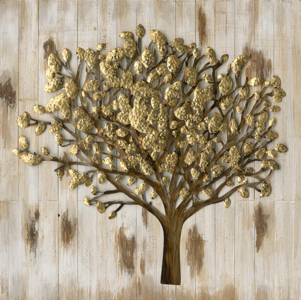 Schilderij metalen boom op hout 100x100