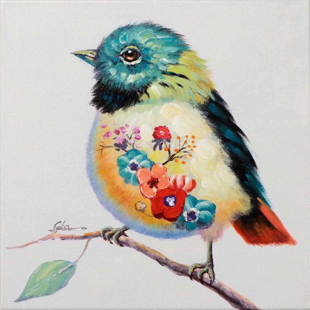 Schilderij vogeltje 40x40
