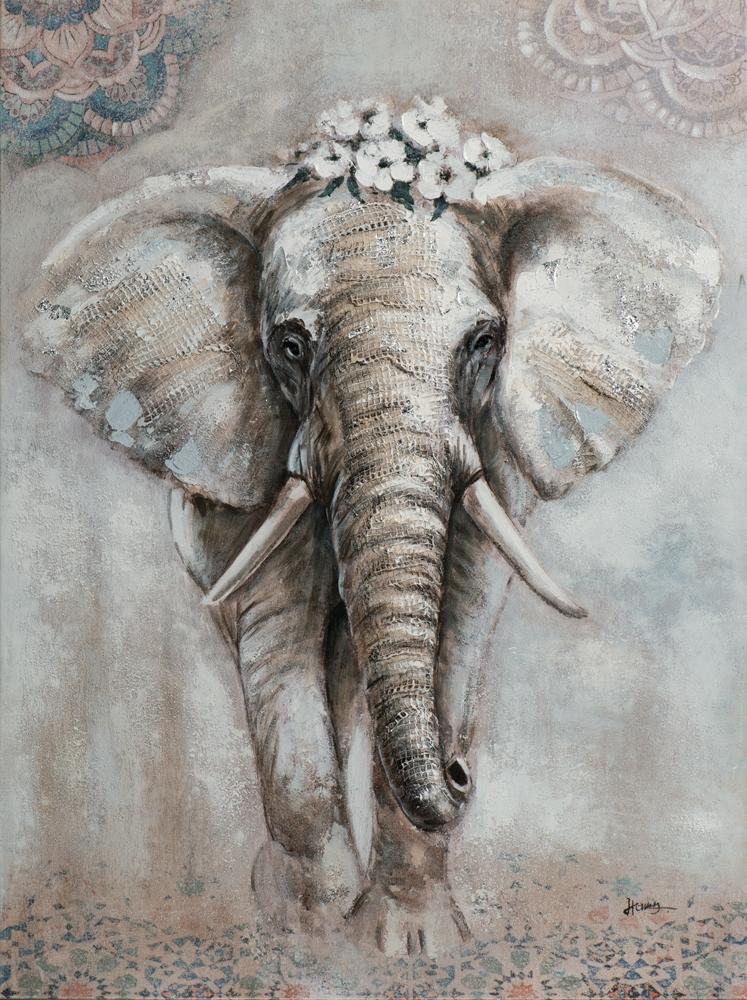 Schilderij olifant 120x90