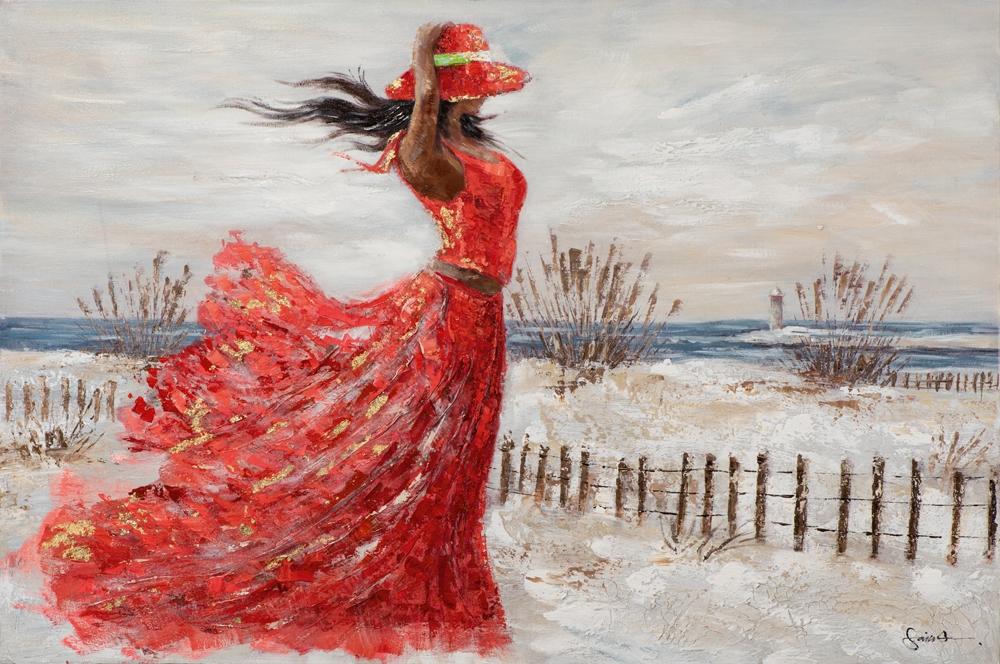 Schilderij vrouw aan strand 80x120