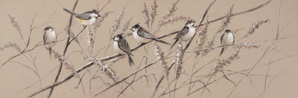 Schilderij vogeltjes 50x150