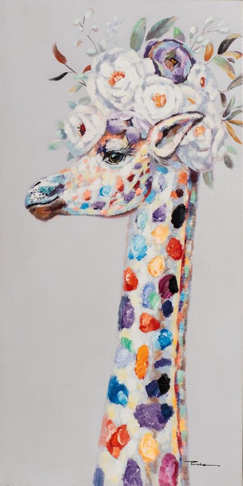 Schilderij giraffe 140x70