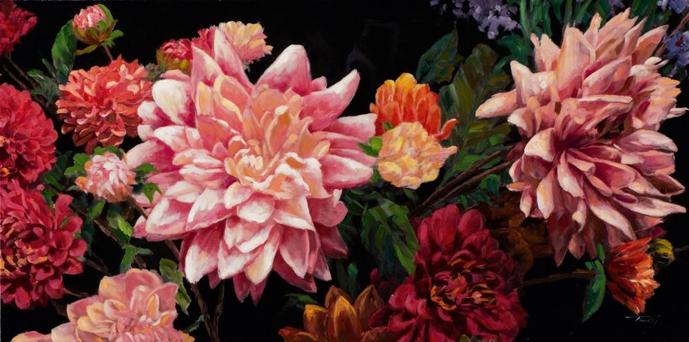 Schilderij bloemen retro 70x140