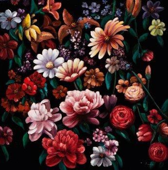 Schilderij bloemen retro 100x100