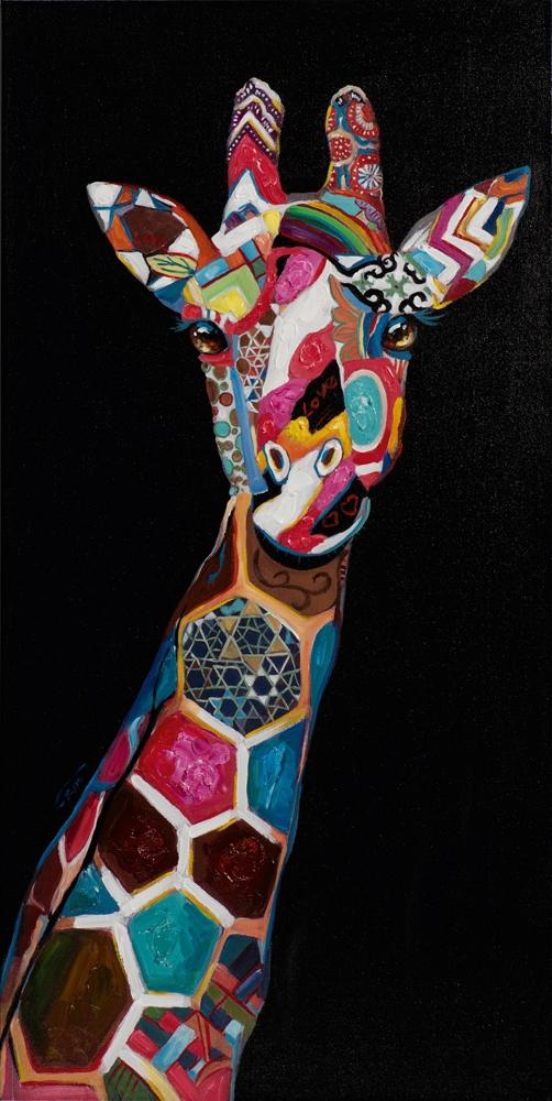 Schilderij giraffe 60x120