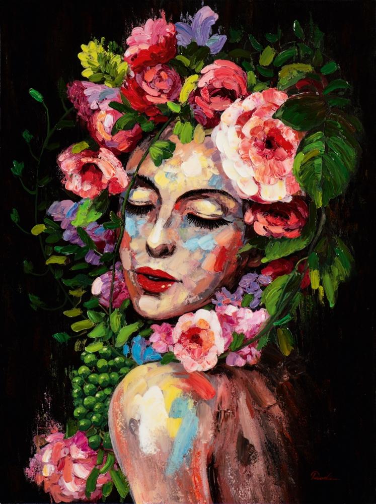 Schilderij vrouw bloemen retro 90x120