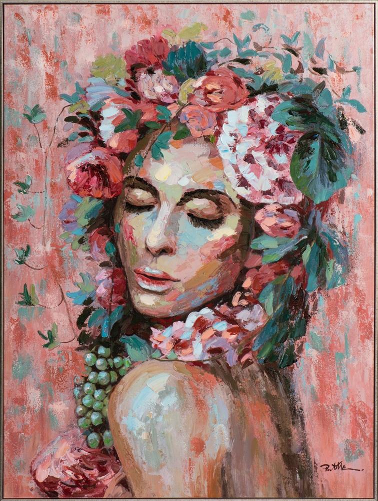 Schilderij vrouw ingelijst met zilveren lijst 92x122
