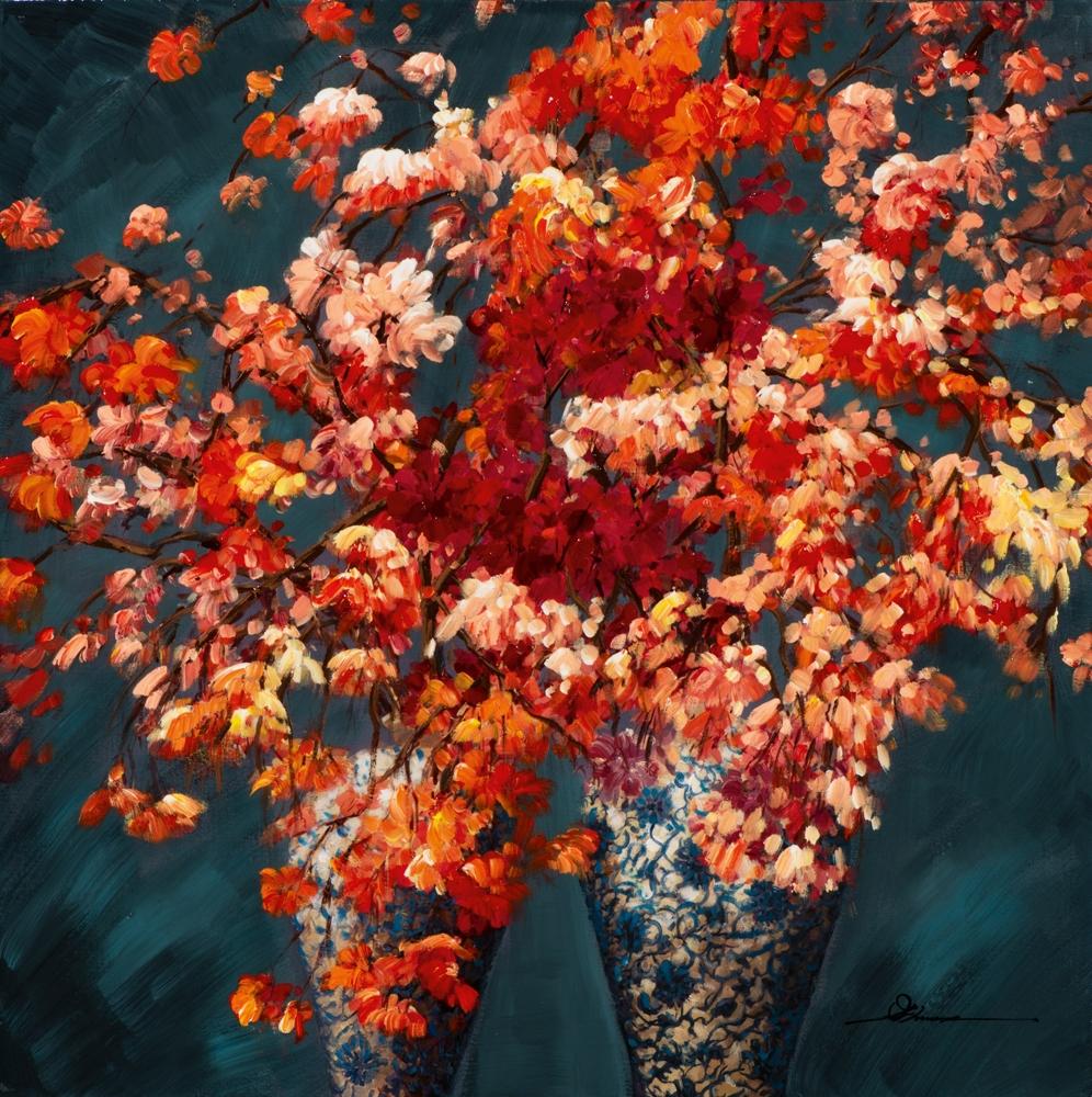 Schilderij bloemen in vaas retro 100x100