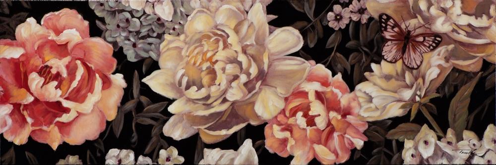 Schilderij bloemen retro 50x150