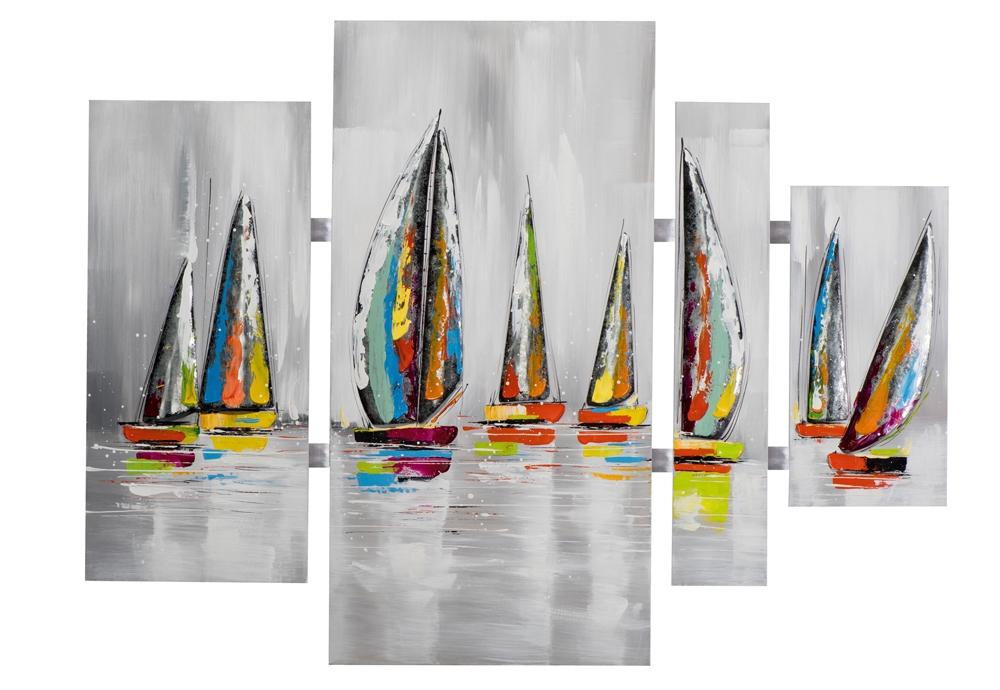 4 luik schilderij boten 100x134