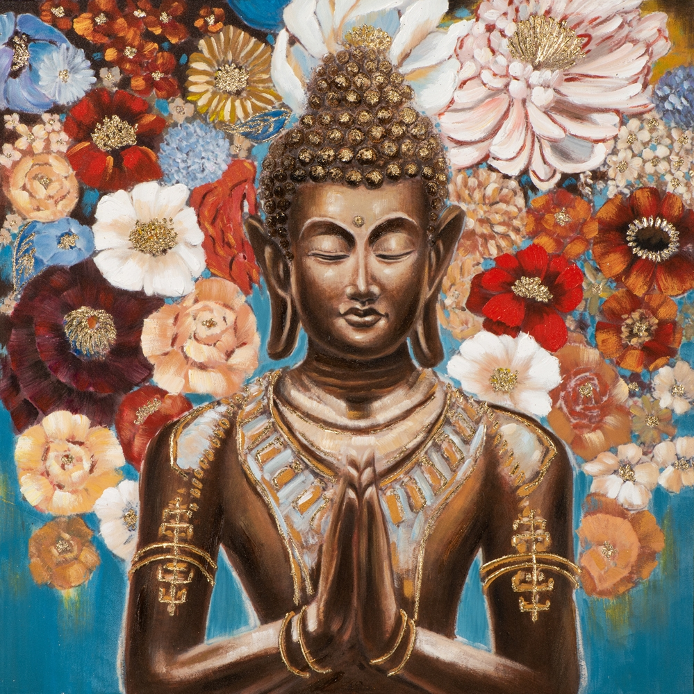 Schilderij fleurige Boeddha 100x100