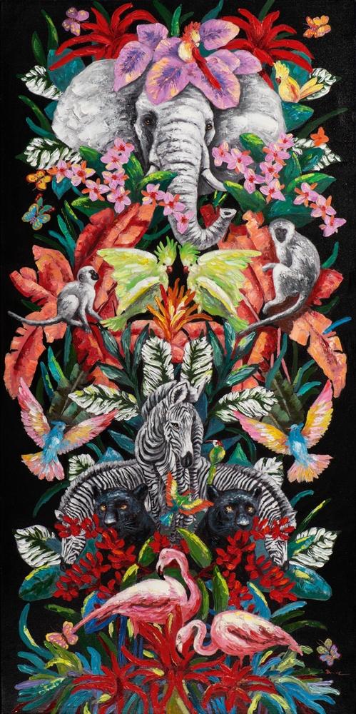 Schilderij jungle gekte 80x160