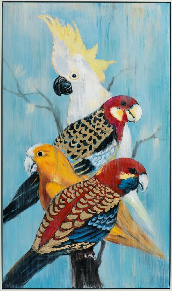 Schilderij vogels met lijst 72x122