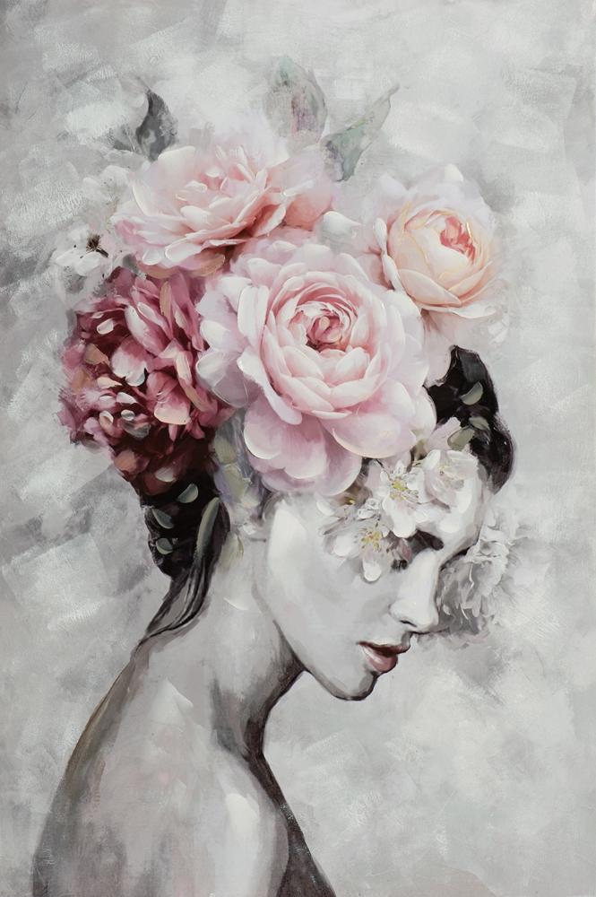 Schilderij vrouw met bloemen 80x120